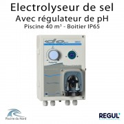 Electrolyseur de sel piscine 40 m3 avec pH intégré en coffret IP65