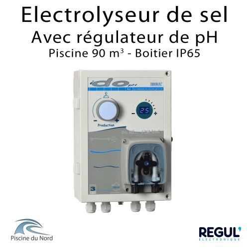 Electrolyseur de sel piscine 90 m3 avec pH intégré en coffret IP65