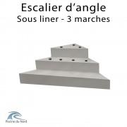 Escalier d'angle droit sous liner, 3 marches