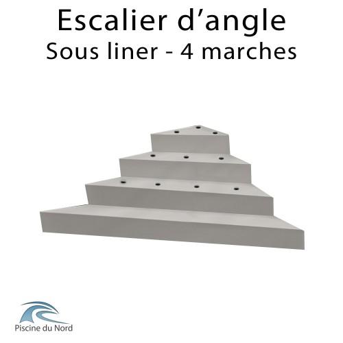 Escalier d'angle droit sous liner, 4 marches