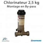 Chlorinateur piscine Hayward, capacité 2,5 kg, raccordements 1 ''1/2 montage By-pass