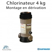 Chlorinateur piscine Hayward, capacité 4 kg, raccordements tubbing, montage en derivation