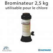 Brominateur piscine Hayward, capacité 2,5 kg, raccordements tubbing, montage en derivation