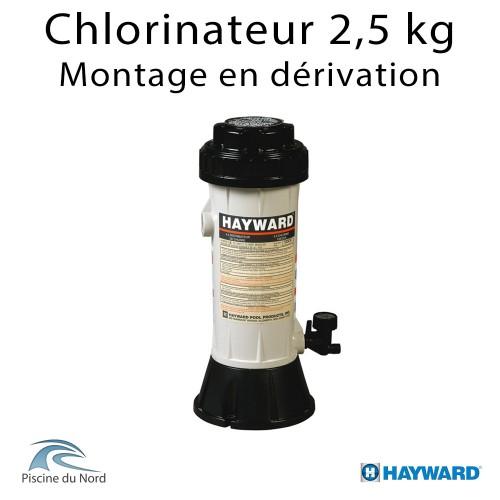 Chlorinateur piscine Hayward, capacité 2,5 kg, raccordements tubbing, montage en derivation