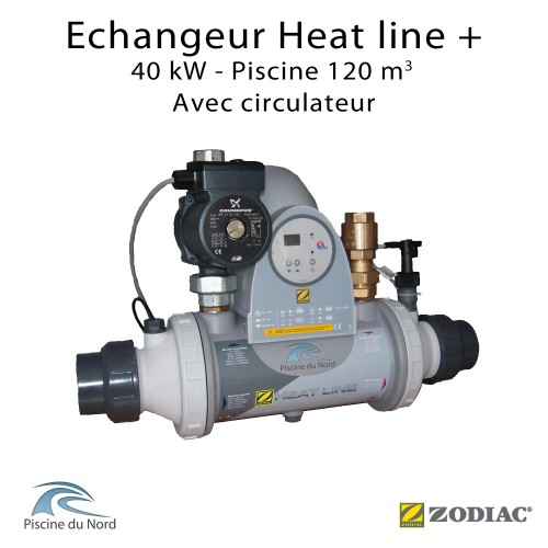 Echangeur piscine Heat line Plus 40kW avec circulateur Zodiac Poolcare