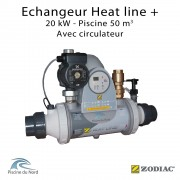 Echangeur piscine Heat line Plus 20kW avec circulateur Zodiac Poolcare