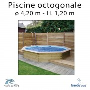 Piscine bois gardipool OCTOO 4,20 m profondeur 1,20 m
