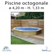 Piscine bois gardipool OCTOO 4,20 m profondeur 1,33 m