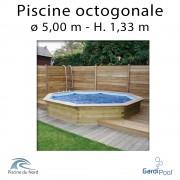 Piscine bois gardipool OCTOO 5,00 m profondeur 1,33 m