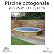 Piscine bois gardipool OCTOO 6,25 m profondeur 1,33 m