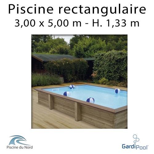 Piscine rectangulaire bois QUARTOO 3,00 x 5,00 m profondeur 1,33 m