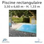 Piscine rectangulaire bois QUARTOO 3,50 x 6,60 m profondeur 1,33 m