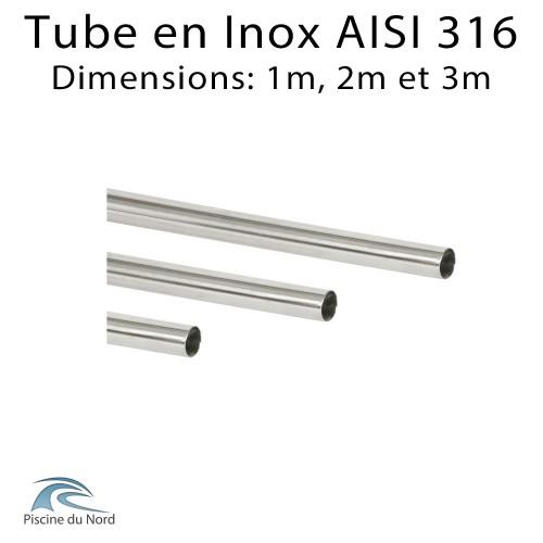 Tube en Inox pour création de main courante piscine 1m, 2m et 3m