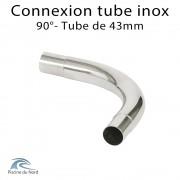 Connexion d'angle 90° pour tube Inox diamètre 43 mm
