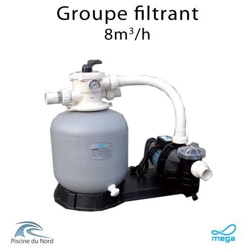 Groupe filtrant mega filtre 8m³/h + Pompe de filtration 0.75 CV