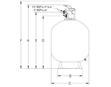 Côtes et dimensions du filtre à sable pentair Tagelus