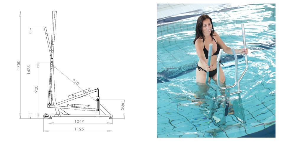 Dimensions du velo elliptique elly de waterflex